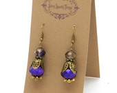 Sparkly purple bead earrings with filigree - special holiday price!  SST3097