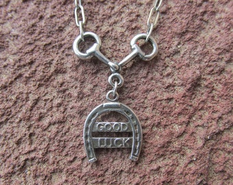Snaffle Sterling Silver Good Luck Horseshoe Eggbutt Horse Bit Cowgirl Equestrian Necklace