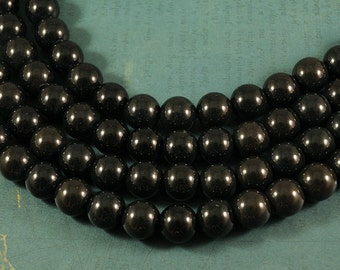 Black Agate LARGE HOLE beads - 12mm smooth round - 8 inch strand - 2.5mm Hole