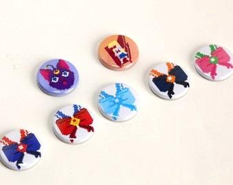 """Seven 1"""" Sailor Moon Pin Buttons"""