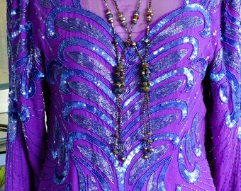 Purple beaded dress flapper wedding flapper party dress