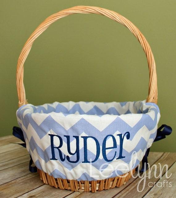 Personalized Easter Basket Liner Light Blue Chevron