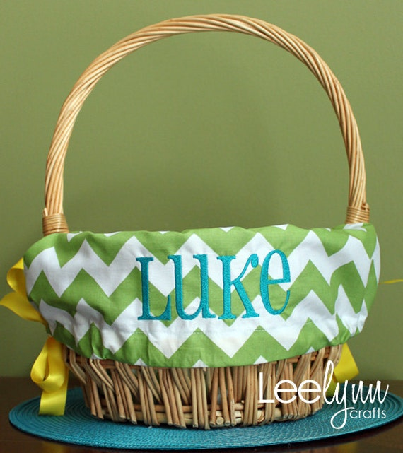 Personalized Easter Basket Liner Green Chevron