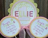Personalized 3 Piece Centerpiece -Twinkle, Twinkle Little Star -Birthday -Baby Shower -Table Decoration -Candy Dessert Table -Pink Gold