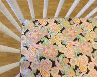 READY to SHIP- Girl Crib Sheet-Crib Sheet- Cotton Crib Sheet- Paisley Sheet in Brown
