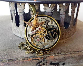 Steampunk Pendant  - Swooping Swallow