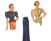 1930s Sewing Patterns- Dresses, Pants, Tops 1930s Vintage Sewing Pattern Simplicity 2316 Size 14 1930s Fitted Jacket blouse hip flare  Slim Skirt High fashion glamour evening suit $39.00 AT vintagedancer.com