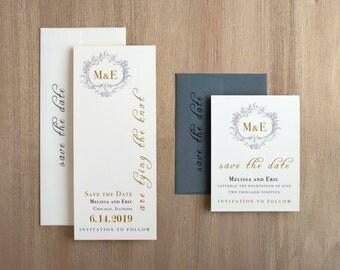 "Gold Monogram Wedding Save the Dates, Unique Wedding Save the Dates, Elegant Gold and Gray - ""Antique Glitter"" Save the Dates"