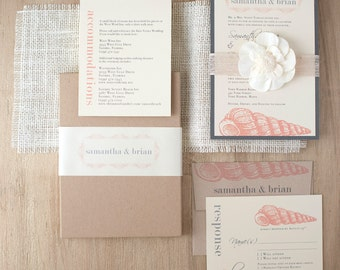 "Elegant Beach Boxed Wedding Invitations, Burlap, Destination Wedding - ""Beach Romance Metallic Ecru Box Invite"" Sample - NEW LOWER PRICE!"