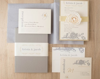 "Luxury Boxed Ecru Metallic Wedding Invitations with Gold, Gray, Ivory  ""Modern Romance Box Invite"" Deposit - NEW LOWER PRICE!"