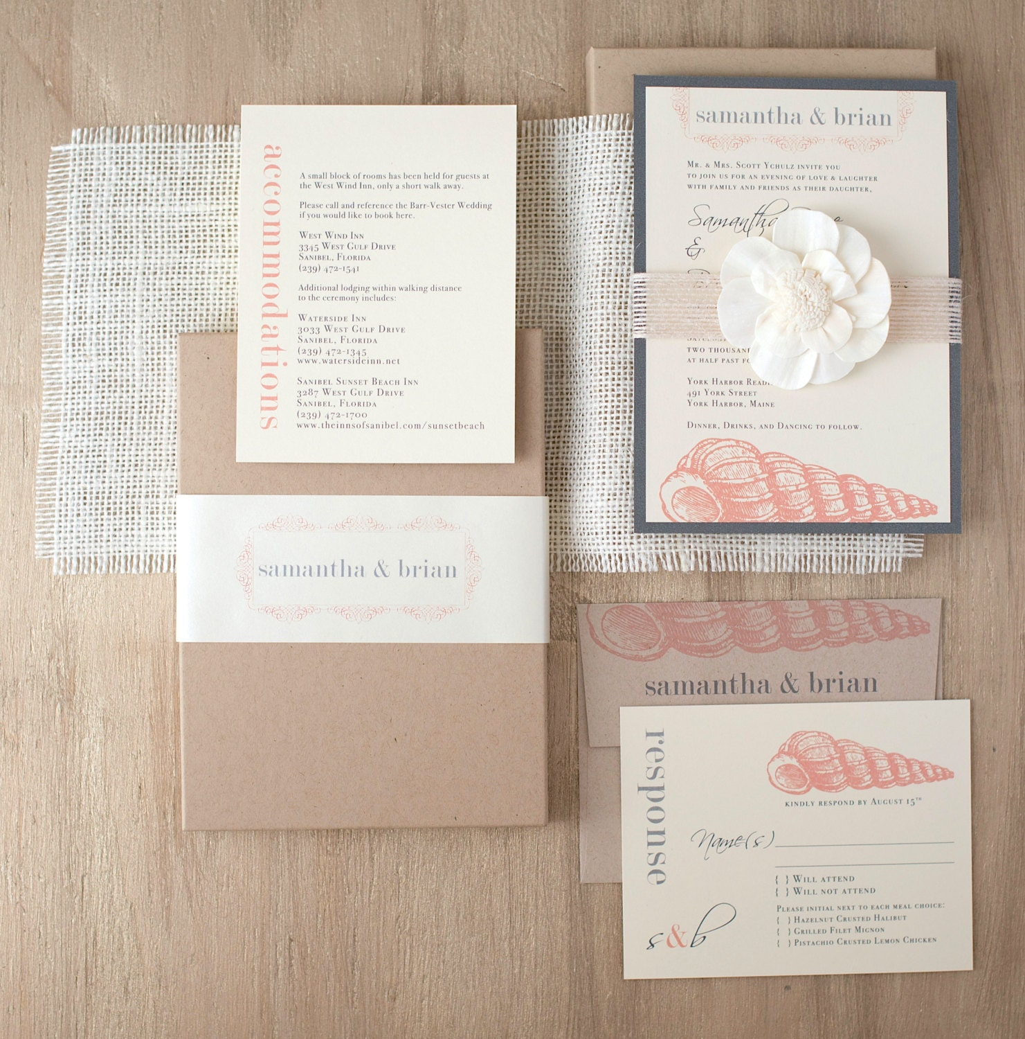 Elegant Beach Boxed Wedding Invitations Burlap Destination