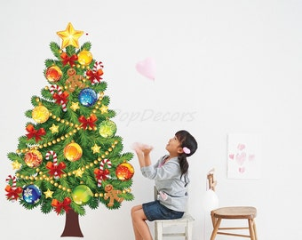 "Christmas Tree Reusable Wall Stickers Kids Wall Holiday Gift- Christmas Tree (57 ""H) - Holiday Room Wall Decals Decoration Must Have prt0037"