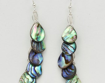 Mermaid's Tail Abalone Earrings, Abalone Teardrop Earrings, Fishtail Earrings, Shell Earrings, Abalone Jewelry, Valentines Jewelry