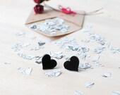 Black Heart Earrings | Valentines Gift | Nickel Free Studs