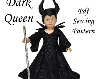 Dark Queen American Girl Doll Clothes Pattern 18 inch Doll pattern PDF