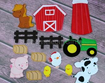 Farm Felt Set, Felt Paper Doll, Quiet Toy, Felt UnPaper Doll, Felt Toy, flannel board, felt board, busy bag, quiet book, soft toy, Flat Doll