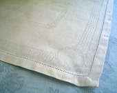 Vintage Linen Damask Luncheon Napkins with Neoclassical Elegance Set of Four