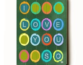 Wooden Art Sign Planked I Love You So wall decor multi colored circles on green chalkboard