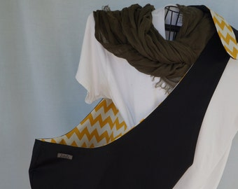 Pet Sling Just Basic Reversible- Large- Black With Mustard Chevron-40% off Use coupon code SUMMER