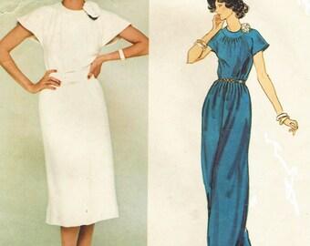 1970s Nina Ricci Womens Cocktail or Evening Dress and Half Slip Vogue Paris Original Sewing Pattern 1318 Size 16 Bust 38