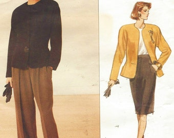 80s Anne Klein Womens Jacket, Wide Legged Pants & Skirt Vogue American Designer Sewing Pattern 2355 Size 6 8 10 Bust 30 1/2 to 32 1/2