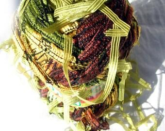 Yarn with tassels. Yarn Brasilia in earth colors. Unique ladder yarn with ribbon pendants tassels.