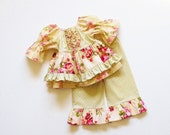 Girls Shabby Chic RUFFLE PANTS OUTFIT 6mo to 6 Spring Easter baby toddler 9mo 12mo 18mo 24mo 2T 3T 4T 5 6