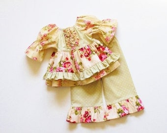 Girls Shabby Chic RUFFLE PANTS OUTFIT 6mo to 6 baby toddler 9mo 12mo 18mo 24mo 2T 3T 4T 5 6 tea party birthday outfit