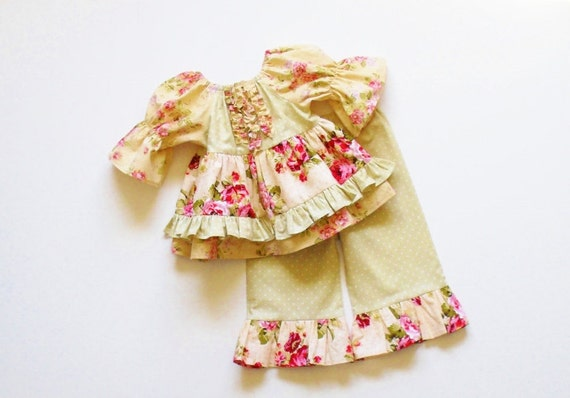 Girls shabby chic ruffle pants outfit 6mo to 6 baby toddler - Shabby chic outfit ideas ...