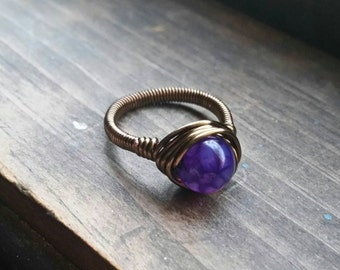 Purple Crackle Dragon's Egg Antique Style Wire Wrapped Ring