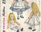 "1950s Alice In Wonderland Stuffed Cloth Doll Bloomers Slip Dress And Apron 18-19"" Tall Simplicity 2240 Vintage Sewing Pattern"