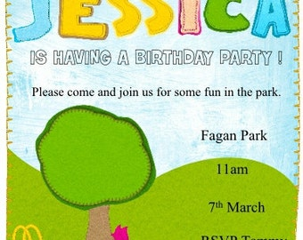 In the Park Birthday Invitation Printable Personalized