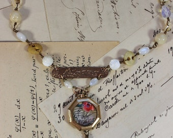 Forever Spring! -Watch Case Collage Necklace- African Opals, Opalite, Antique Buttons, Mother of Pearl- One of a Kind