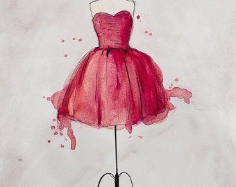 Original Watercolor and Ink Fashion Painting, Cranberry Dress by Stephanie Alianto