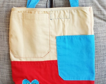 TOTE Bag - Red, White, and Blue ColorBlock - Durable Apron Fabric