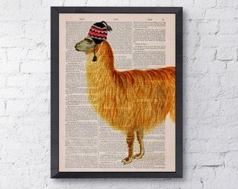 Spring Sale Vintage book print Traveler  llama Print on Vintage Book page LLama Nursery wall art funny animal prints BPAN167