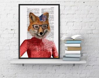 Summer Sale Foxy girl portrait wall art Wall decor funny fox art, Unique Gift Chic Fox lady wall hanging  Poster Print  ANI171