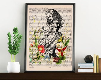 Summer Sale Alice in wonderland print on Music sheet, Alice with wild flowers, Nursery wall art, home wall decor ALW001WA4