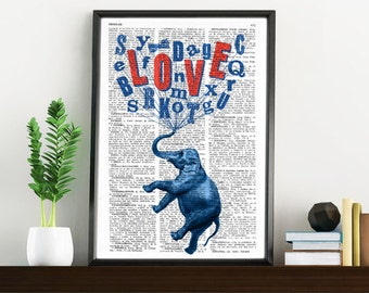 Summer Sale Elephant book print  Elephant love dream collage Printed on vintage dictionary book page ANI087