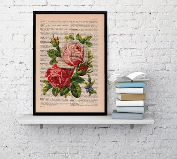 Summer Sale Vintage Book Print Dictionary or Encyclopedia Page Print- Book print Roses Bouquet on Vintage Book art BFL043