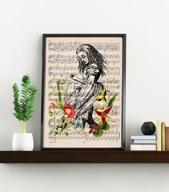 Summer Sale Alice in wonderland print on Music sheet, Alice with wild flowers, Nursery wall art, home wall decor ALW001WA4
