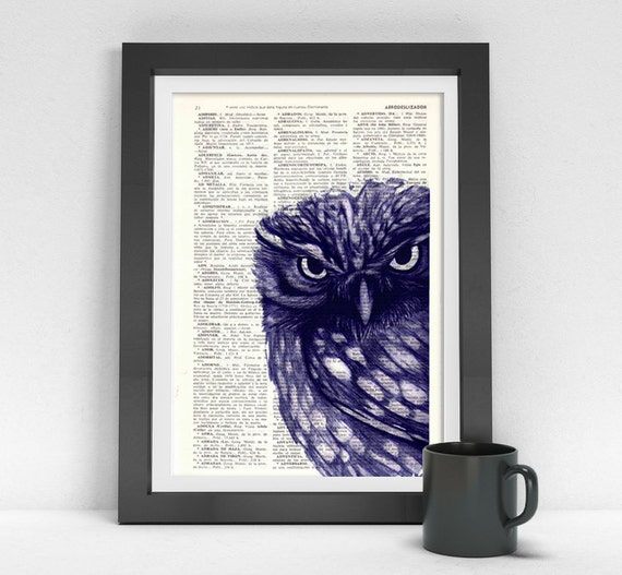 Black Friday Owl Dictionary page book print Purple Owl Print Vintage Book altered art dictionary page illustration book print BPAN024
