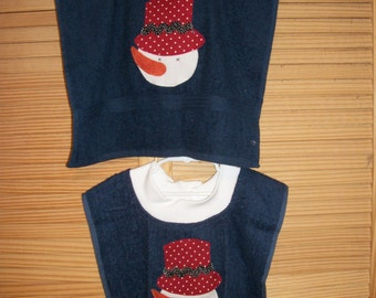 Terry Towel Coverup/Bib/Snowman Face