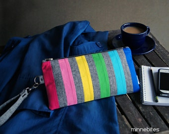 CLEARANCE Rainbow Wristlet by MinneBites / Handmade Purse Two Zipper Pockets - iPhone Wallet Grey - Bright Modern Clutch - Ready to Ship