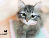 Kitten Busya - real sized Needle Felted toy (MADE TO ORDER)