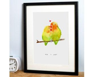 Mr & Mrs Love Birds Print