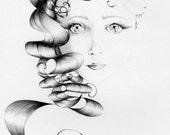 "This is ""Beauty"" a Fine Art Giclee Print Art Print of My Original Pencil Drawing Beautiful Face Pretty Girl Wall Art Minimalist Art Decor"