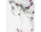 "She's ""Sarah"" Fine Art Giclee Print of my Original Pencil Drawing Watercolor Painting of a Girl Pretty Face Profile of a Women Purple Art"
