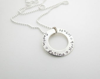Personalized Necklace - Personalized Jewelry - Kids Names - Mothers Necklace - Washer Necklace - Hand Stamped - Engraved - Sterling Silver