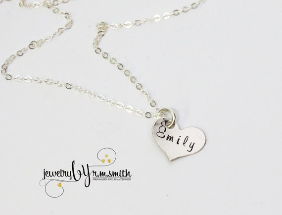Personalized Heart Necklace - Personlaized Jewelry - Personalized Mothers Necklace - Childs Name Necklace - Grandma Necklace - Engrave